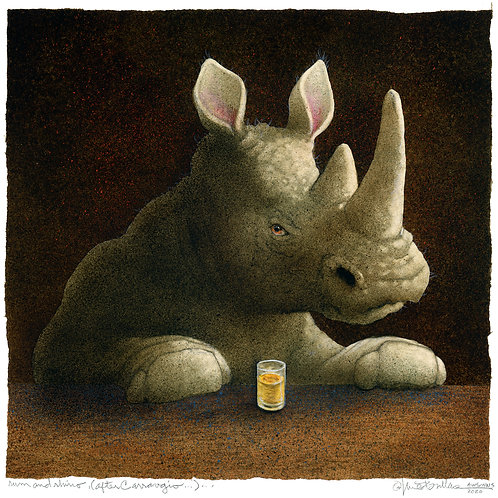 rum and rhino... (after Caravaggio)...