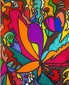 Dessin La femme papillon