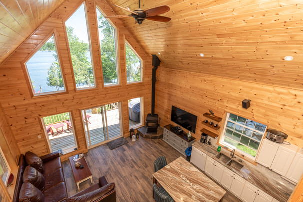 Muskoka cottage great room with lake view