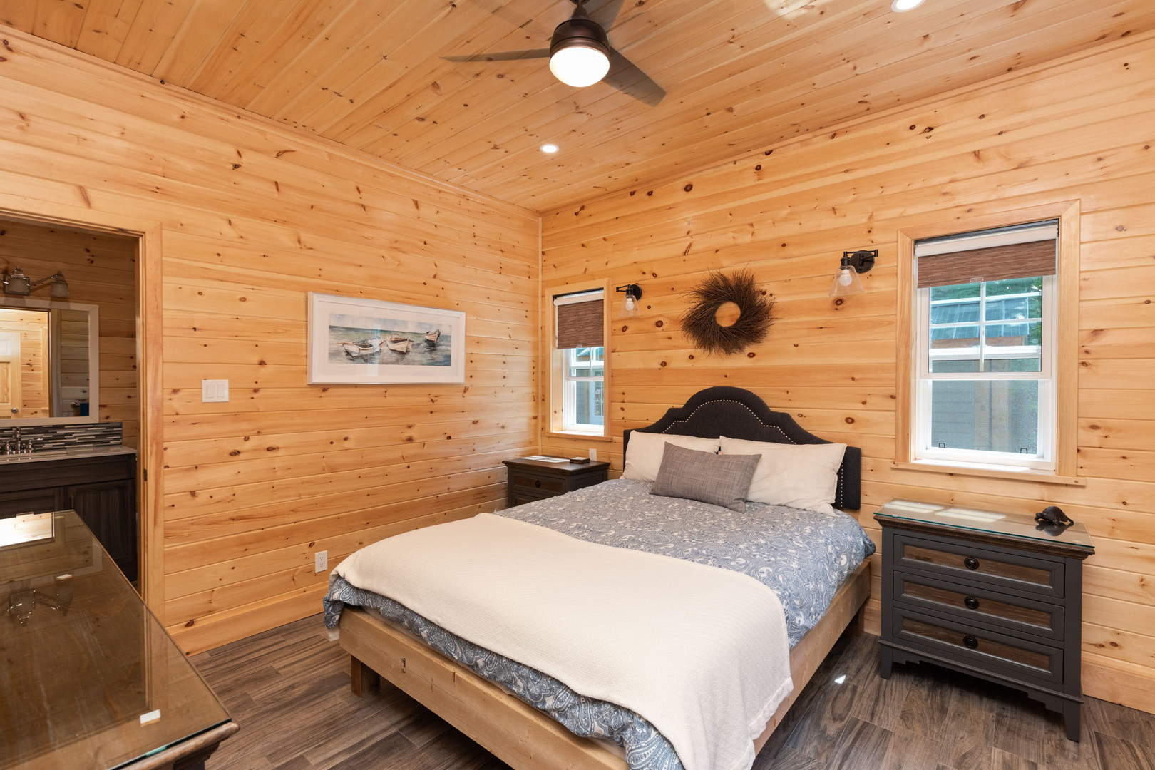 Muskoka lakefront cottage with charming bedroom