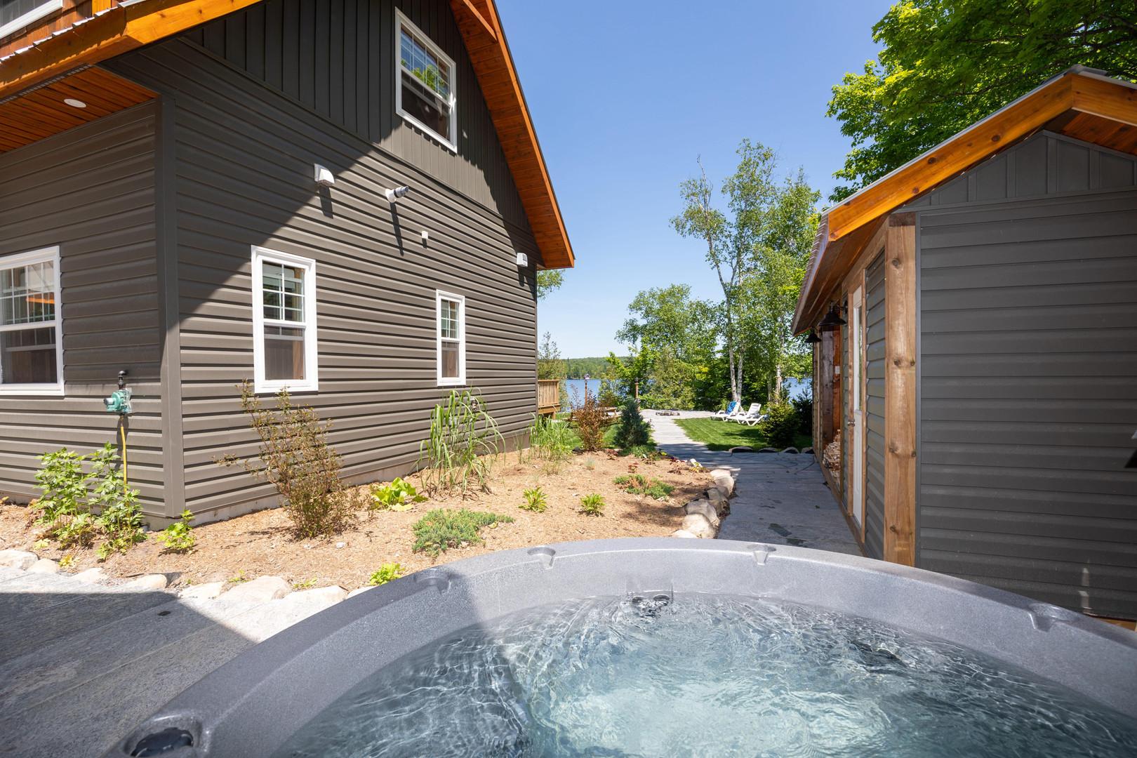 Muskoka cottage hot tub with lake view