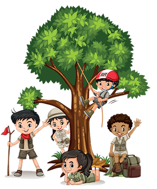 Kids playing in tree