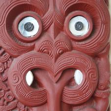 Maori carvings at Wharenui, Karongata Marae, Bridge Pa, North Island