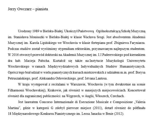 notka biograficzna J.Owczarz pianista