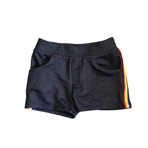 Denim short with rainbow stripe