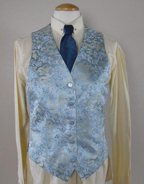 Frierson Lt Aqua Brocade Vest/Yellow shirt Set- L8