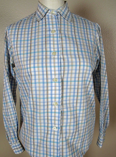 Show Season Wht/LtBlu/Brn/Teal Check Shirt - 6