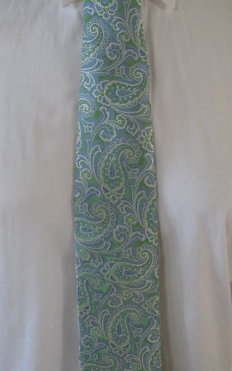 128 Robert Talbott Light Green-Light Blue Paisley