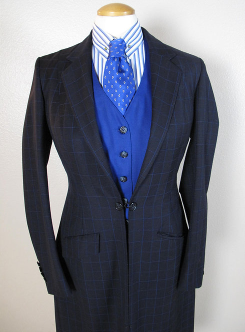 Saddle Seat Connection Navy Windowpane L6