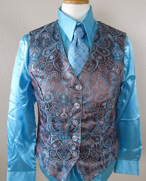 Custom Reverse Vest Set - Brn/Aqua-Mint Grn - L10