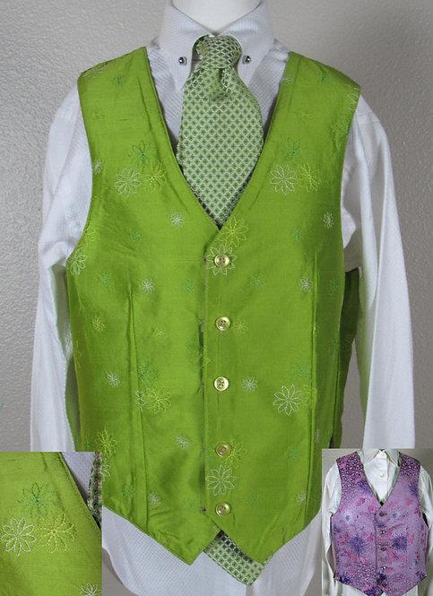 Custom Reversible Lime/Pink Silk Vest, Ladies 2/4