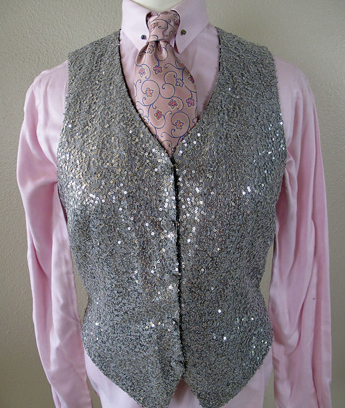 Show Season Silver Sequined Vest - L4/8, YXL