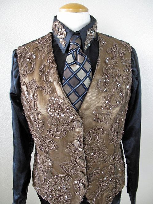 Custom Brown Lace/Beaded Vest set  - Ladies 12
