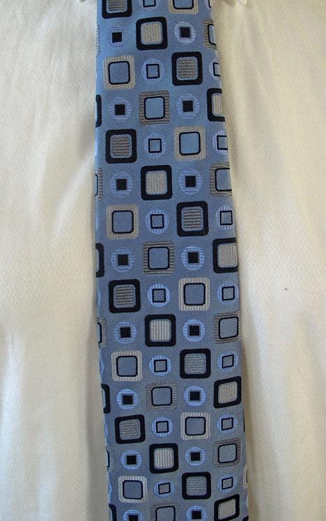 306 Van Heusen lt blue-navy-grey geometric pattrn