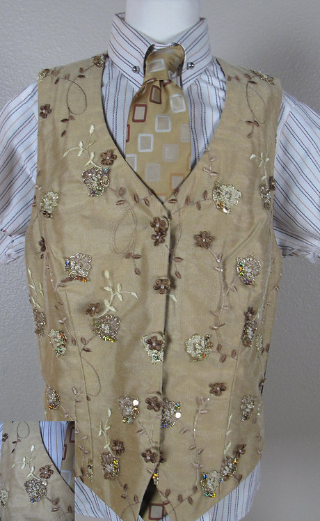 Show Season Lt Gold Beaded Vest - Ladies 6/8
