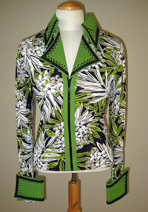 Lisa Nelle Lime Green/Blk/Wht Rail Shirt-Ladies M