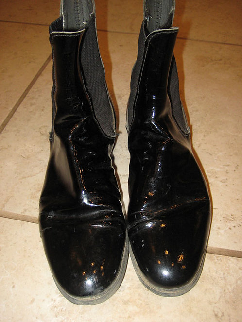 Marlborough Black Patent Boots - Size 7 1/2