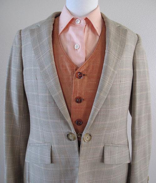 Deregnaucourt Orange Herringbone Shirt - Size 10