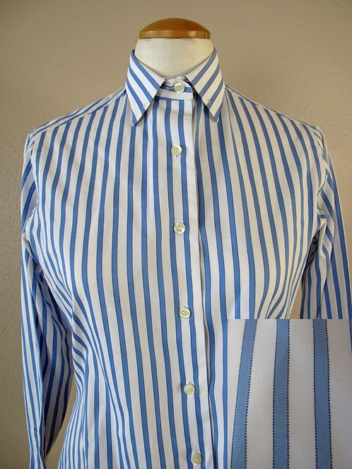 Show Season White/Blue Stripe Shirt - Ladies 8