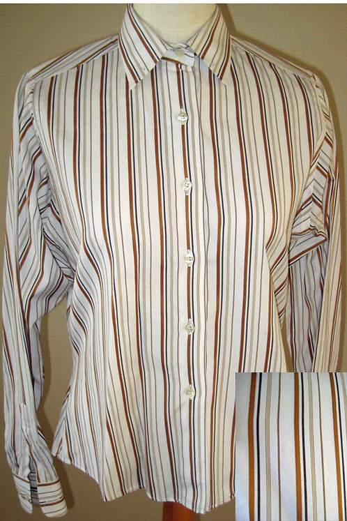 Show Season White/Brn Tone Stripe Shirt - Ladies 8