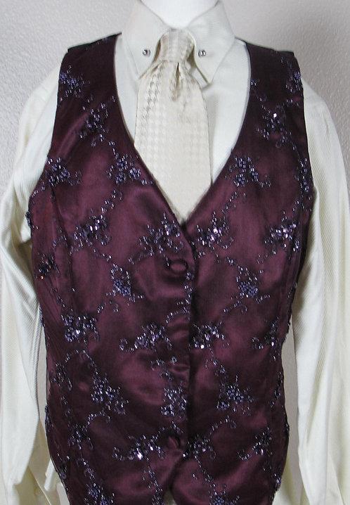 Custom Merlot Lace/Beaded Vest, Ladies 2-4