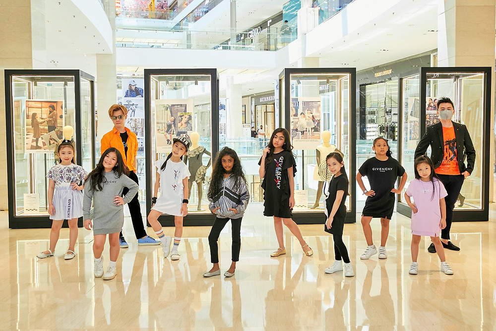 Mr. Matthew Benjamin Yoon & Mr. Brian John Yim with fashion kids model in Givenchy Kids Spring/Summer 2021 New Collection