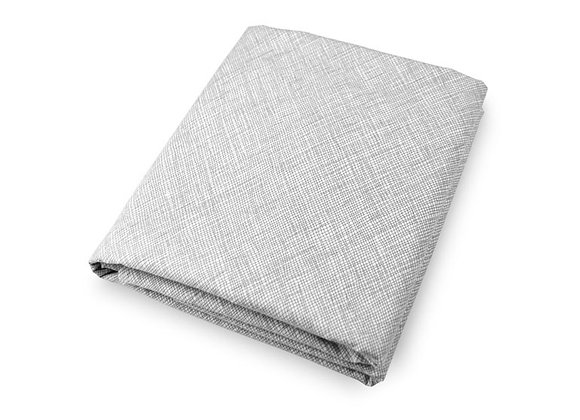 Grey and white crib sheet