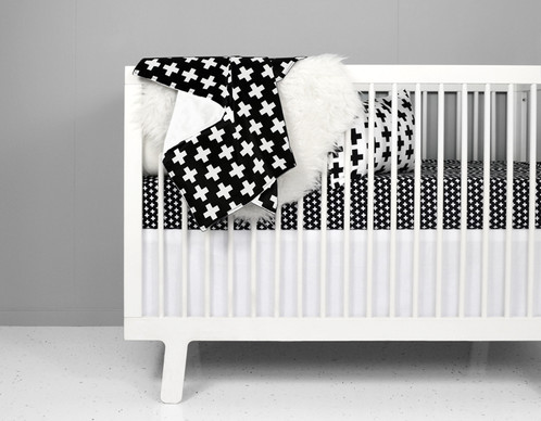 Black And White Swiss Nordic Cross Crib Bedding Set