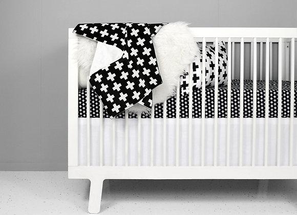 Black and White Swiss Nordic Cross Crib Bedding Set