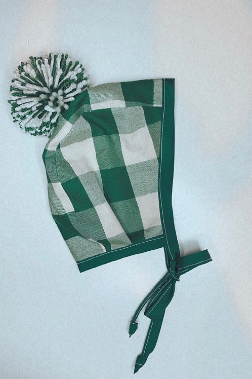Green Plaid Bonnet with pom