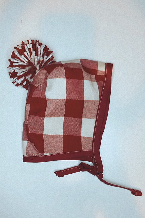 Red plaid bonnet with Pom