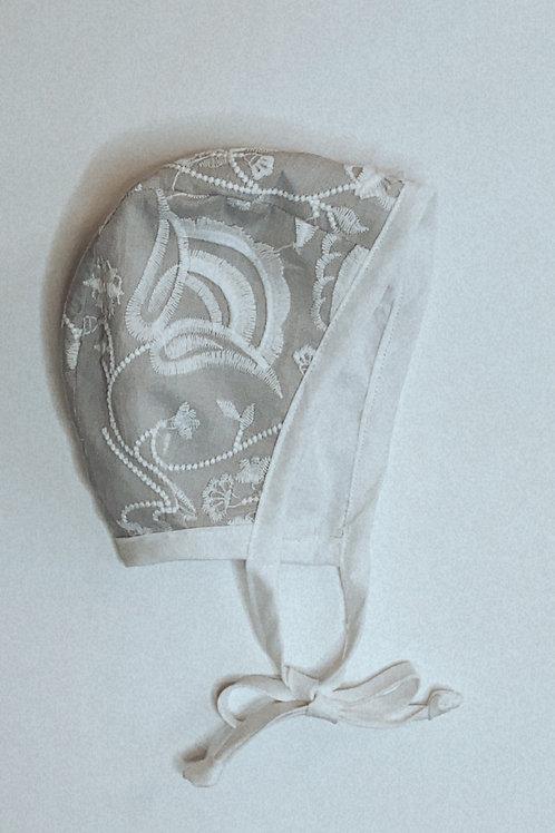 Grey floral embroidered bonnet