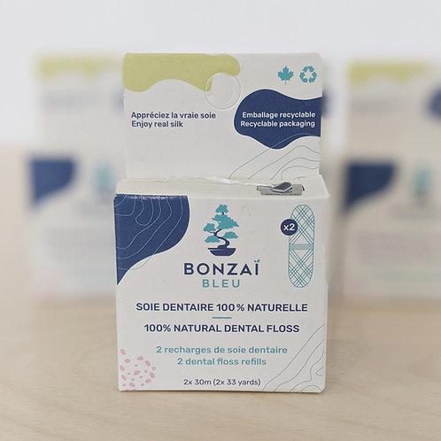 Bonzaï bleu - Soie dentaire naturelle - recharges x 2 cocons 30 mètres