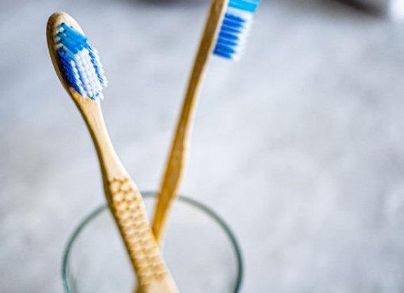 OLA Bamboo - Brosse à dents pour adulte en bambou à tête large - Soies souples