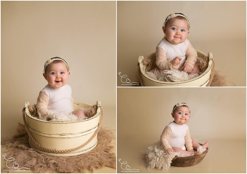 Séance photo de bébé en studio avec accessoires en Isère