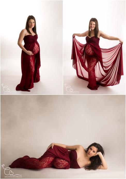 Robe bordeaux  Photographe grossesse Lyo