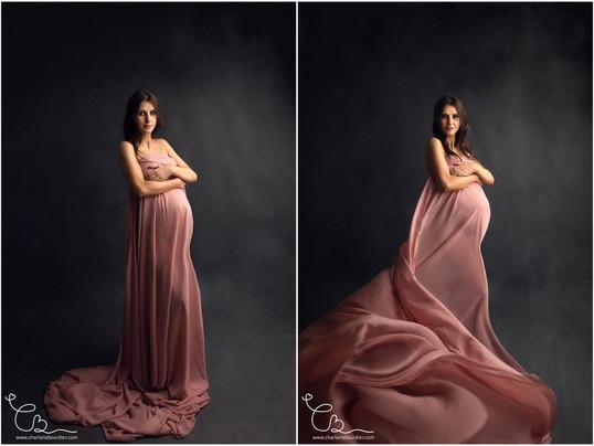Photographe grossesse / Séance photo en studio pour future maman, entre Lyon et Chambéry