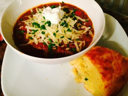 Chili with Jalapeno Cheddar Cornbread