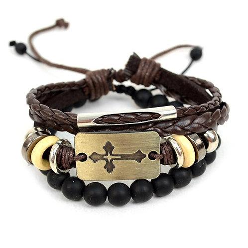Stone Cross 2pc Bracelet Set