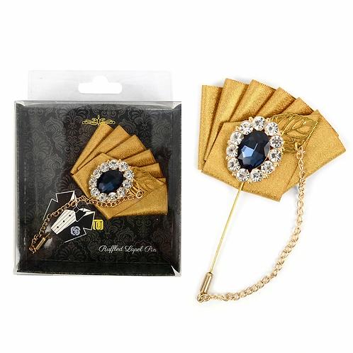 Gold Ruffled Lapel w/Stone Flower & Hanging Chain