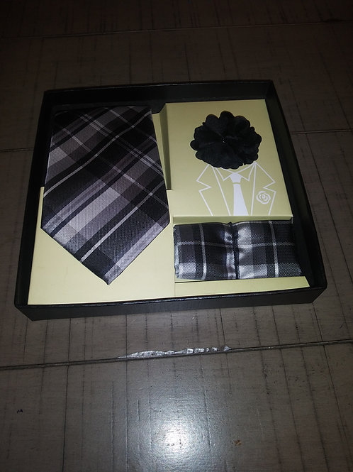 Black Plaid Tie, Hanky, and Lapel Set