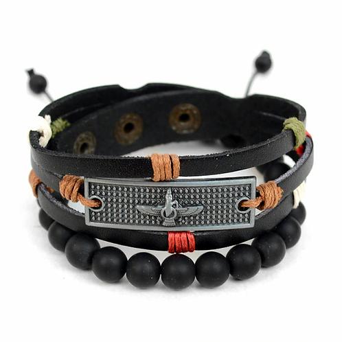 Phoenix 2 Pc Leather Bracelet Set for Men