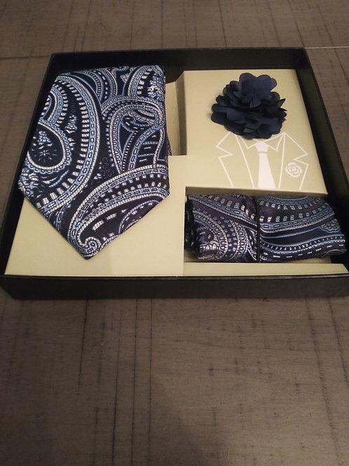 Black Paisley Tie, Hanky, and Lapel Set