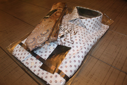 Blue & Brown Teardrop Shirt & Tie Combo