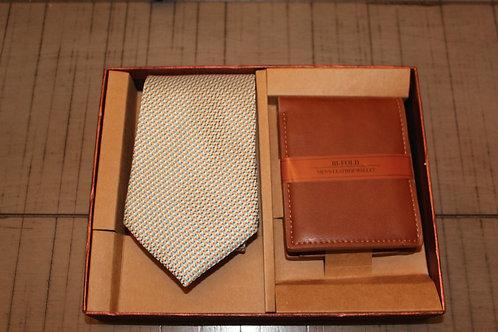 Orange/Blue Mini-Dots Tie & Wallet Set