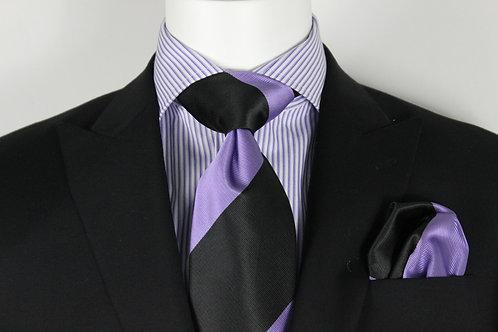 Purple Cuatro Stripe Tie & Pocket Square Set