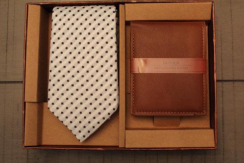 Beige/Black Dotted Tie & Wallet Set