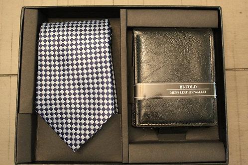 Black/White Checker Tie & Wallet Set