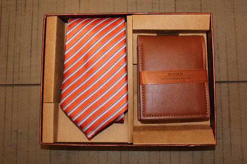 Red Striped Tie & Wallet