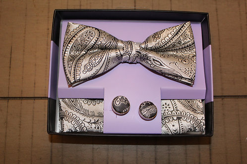 Gold Paisley Bow Tie/Hanky/Cuff-Links Set